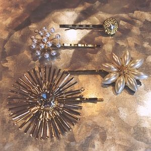 One-of-a-Kind Hair Pins - Gold Starbursts